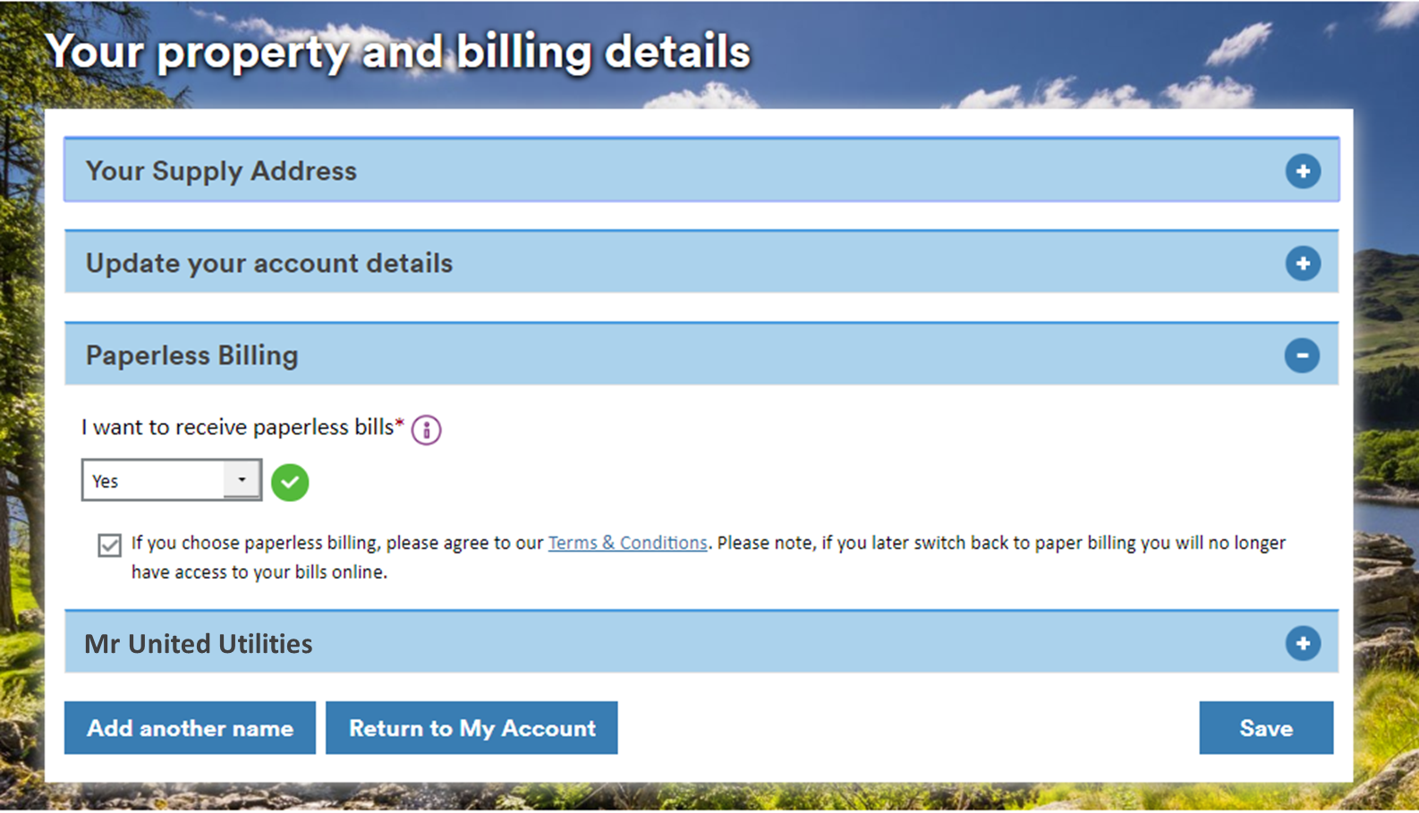 Screenshot of the 'My property and billing details' page in My Account