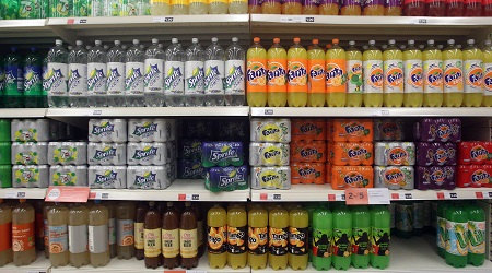 (General view of soft drinks on supermarket shelving. Image/PA)