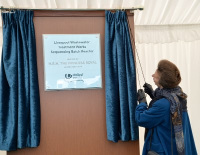 The Princess Royal unveils a plaque during a visit to Liverpool Wastewater Treatment Works, Liverpool. Pic credit: Anna Gowthorpe/Press Association